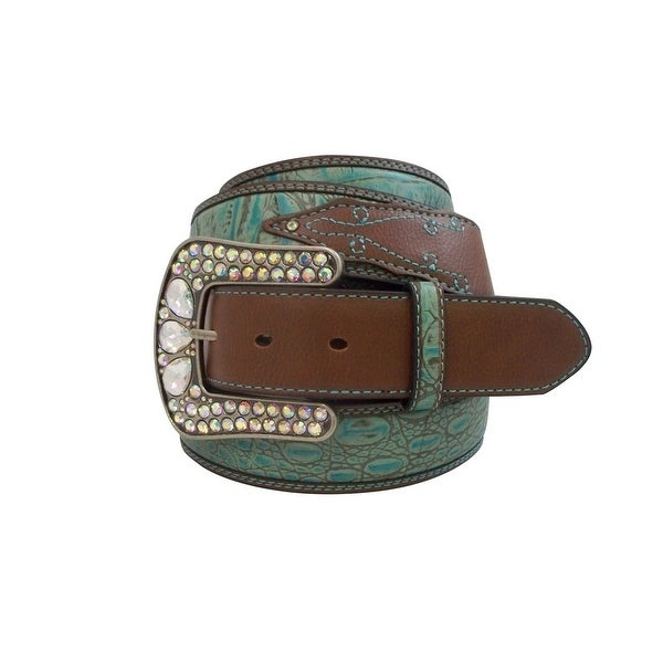 Roper Western Belt Womens Embossed Contrast Stitch Turquoise Brown