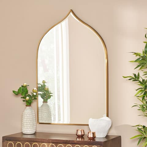 "Delliah Contemporary Bell Shaped Wall Mirror by Christopher Knight Home - Mirror + Brushed Brass - 36.25"" H x 24.00"" W x 0.78"" D"