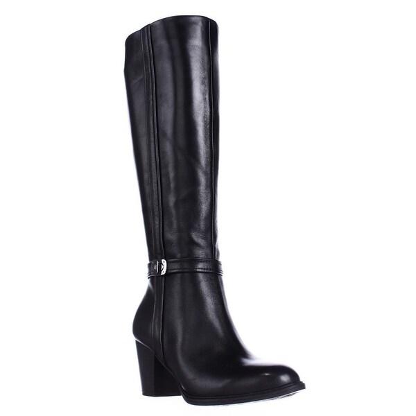 GB35 Raiven Knee High Buckle Boots, Black