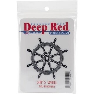 Deep Red Stamps Ships Wheel Rubber Cling Stamp - 2.1 x 2.1
