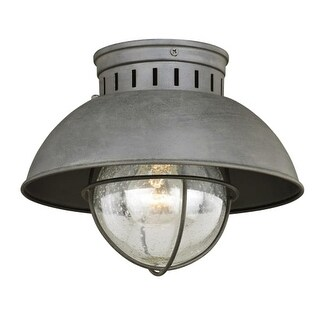"Vaxcel Lighting T0264 Harwich Single Light 10"" Wide Outdoor Flush Mount Ceiling Fixture with Clear Seedy Glass - textured gray"