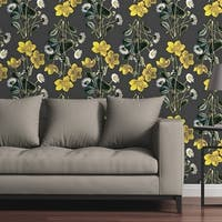 "Circle Art Group Removable Wallpaper Tile - Marigolds and Daisies - 24"" x 48"""
