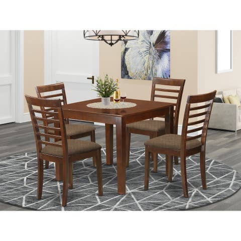 5-Piece Dinette Set Includes Dining table and Four Dining Chairs in Mahogany Finish