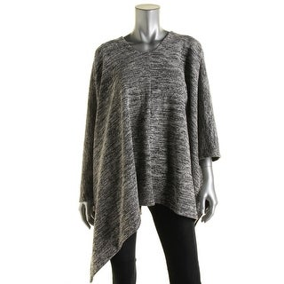 DKNYC Womens Textured Faux Suede Trim Poncho Sweater - XS