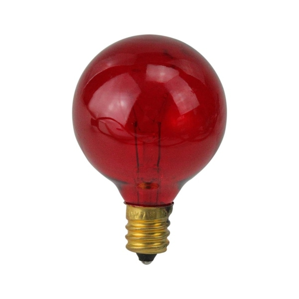 Pack of 25 Transparent G40 Red Christmas Replacement Bulbs