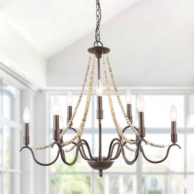 """Farmhouse French Aged Wood Beaded 9-light Chandelier - D28"""" x H25.5"""""""