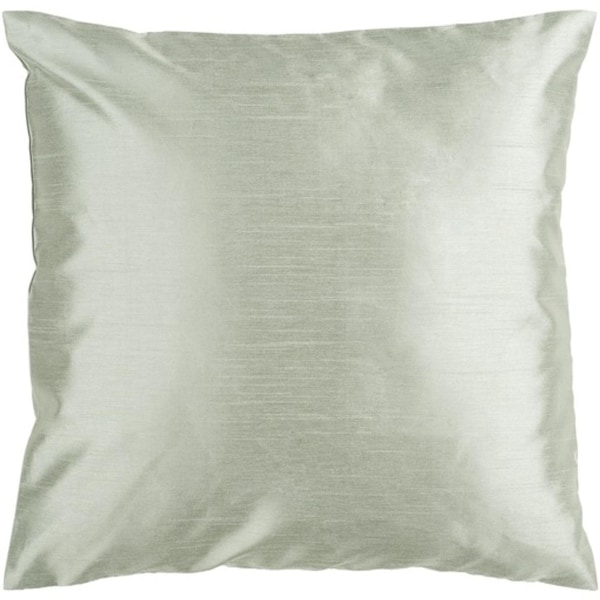 "22"" Shiny Solid Silver Green Decorative Down Throw Pillow"