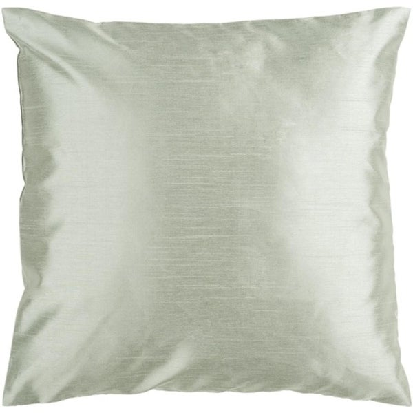 "22"" Shiny Solid Silver Seafoam Decorative Down Throw Pillow"