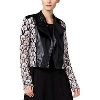 YYigal Womens Motorcycle Jacket Faux Leather Lace