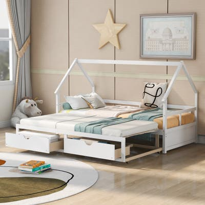 Nestfair Extending Wooden Daybed with Two Drawers