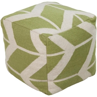 "18"" Kiwi Green and Cream Puff White Zigzag Print Wool Square Pouf Ottoman"