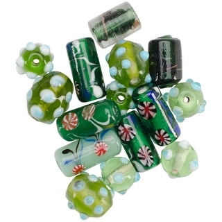 Square Tube Glass Beads 2oz-Green Lampwork Mix - Green