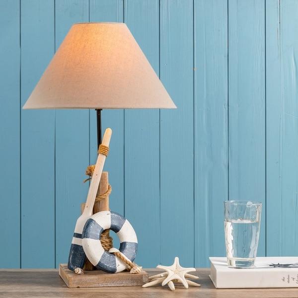 "Glitzhome Wooden Coastal Table Lamp - 19""H"