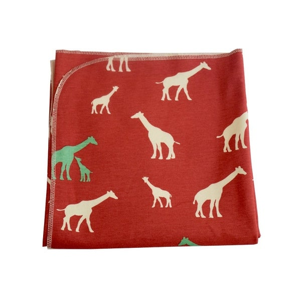 Sophia Sam Baby Red Giraffe Pattern Organic Cotton Swaddle Blanket - One Size