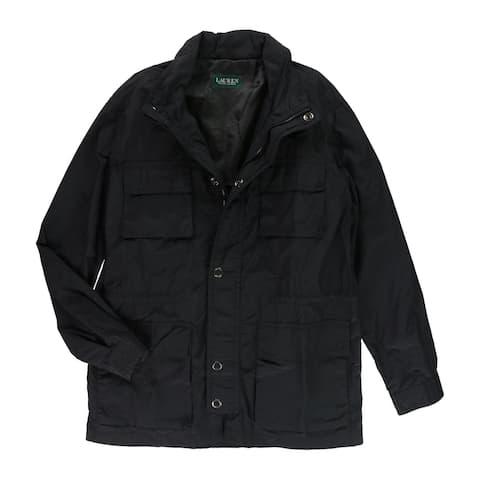 Ralph Lauren Mens Longhorne Raincoat, Black, 46 Long