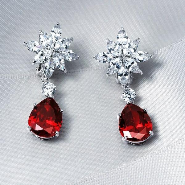 Red Teardrop Cz Dangle Clip On Earrings