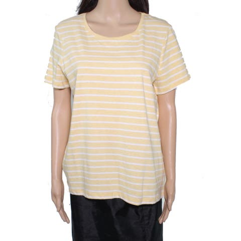 Fat Face Women's Top Daisy Yellow Size 10 Knit Striped Pullover Tee
