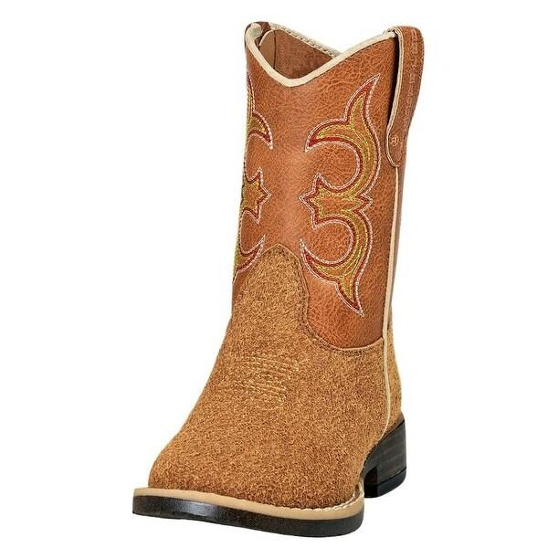 687ffdc50d5 Double Barrel Western Boots Boys Rhett Square Toe Rough Out