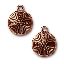 TierraCast Antiqued Copper Plated Labyrinth Pendant Charm 21mm (1)