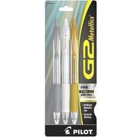Pilot G2 Metallics Retractable Gel Ink Rolling Ball Pen, 0.7 mm Fine Point, Assorted, Set of 3
