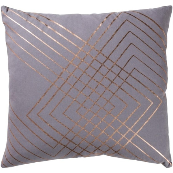 "20"" Moon Gray and Copper Decorative Throw Pillow-Down Filler"
