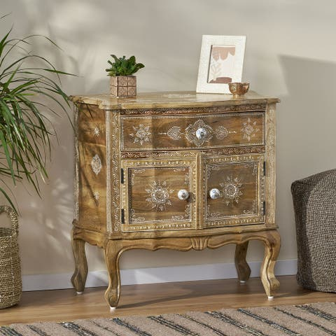 Culloden Indoor Mango Wood Handcrafted Cabinet by Christopher Knight Home