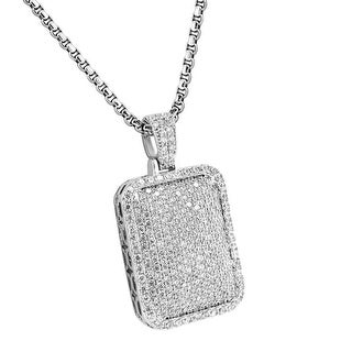Custom Pillow Dome Pendant Full Iced Out Stainless Steel Box Chain White Tone