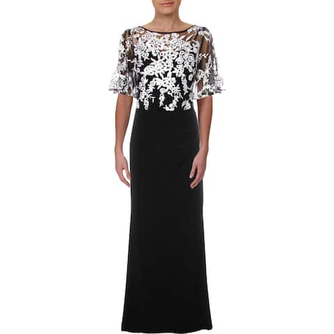 Lauren Ralph Lauren Womens Zari Evening Dress Formal Embroidered
