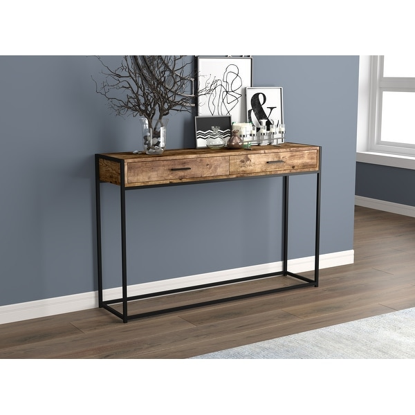 "Console Table 48L Brown Reclaimed Wood 2 Drawers Black Metal - 48"" x 12"" x 32"". Opens flyout."