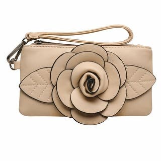 "Women's Raised Rosebud Wristlet Bag - Faux Leather Mini Purse - 8"" x 1"" x 4"" (Option: Green)