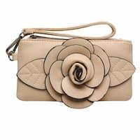 "Women's Raised Rosebud Wristlet Bag - Faux Leather Mini Purse - 8"" x 1"" x 4"""