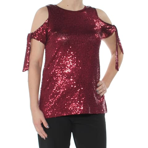 KENSIE Womens Red Cold Shoulder Sequined Short Sleeve Jewel Neck Tunic Evening Top Size: XS