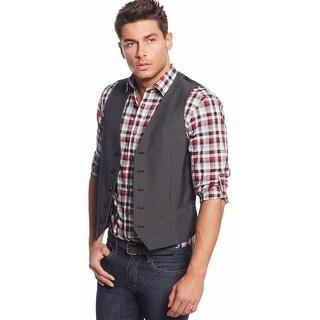 Alfani Red Label Slim Fit Horizontal Stripe Vest Black XX-Large