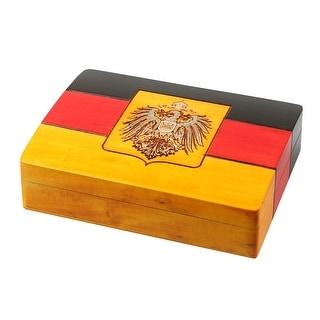 "M CORNELL IMPORTERS Germany German Flag Keepsake Wooden Jewelry Box Trinket Box, 6"" x 4 1/2"" x 1 3/4"""