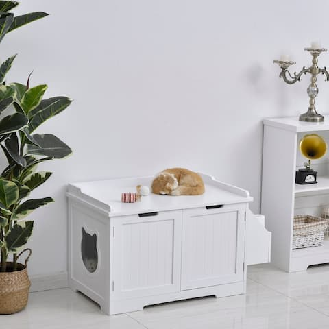 PawHut Wooden Cat Litter Box Enclosure Kitten House with Nightstand End Table and Storage Rack Magnetic Doors