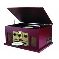 Sylvania SRCD838 5-In-1 Nostalgic Turntable with CD, Casette, Radio Manufacturer Refurbished