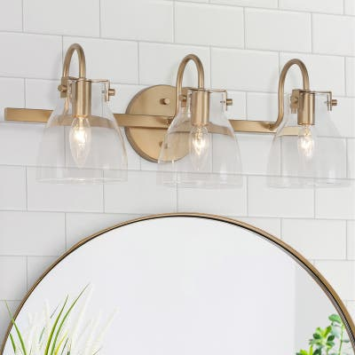 "Modern 3-light Gold Bathroom Vanity Light Flask Shade Glass Wall Sconces - L 21""x W 9""x H 8"""