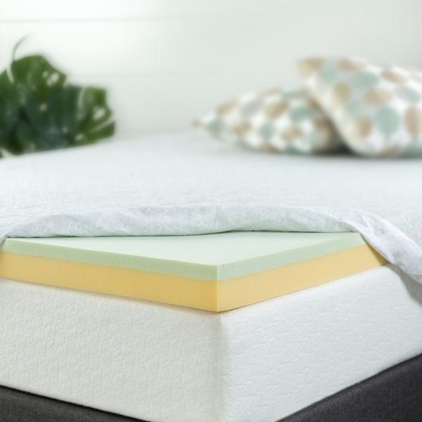 Priage by ZINUS 3 Inch Green Tea Memory Foam Mattress Topper