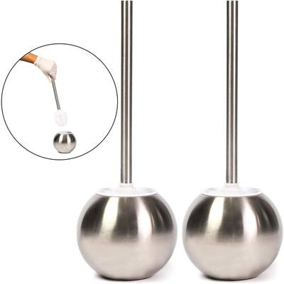 """2 Pack Modern Deluxe Stainless Steel Bathroom Toilet Cleaning Brush with Holder - 15"""""""