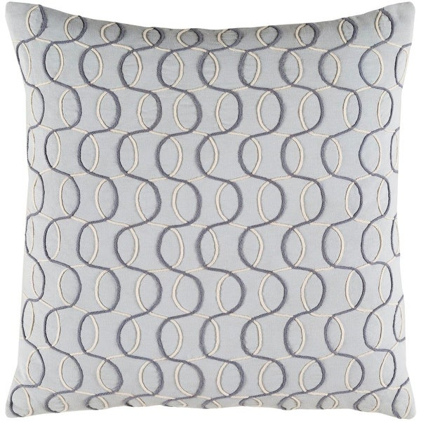 "18"" Silver, Smokey Gray and Eggshell White Woven Decorative Throw Pillow-Down Filler"