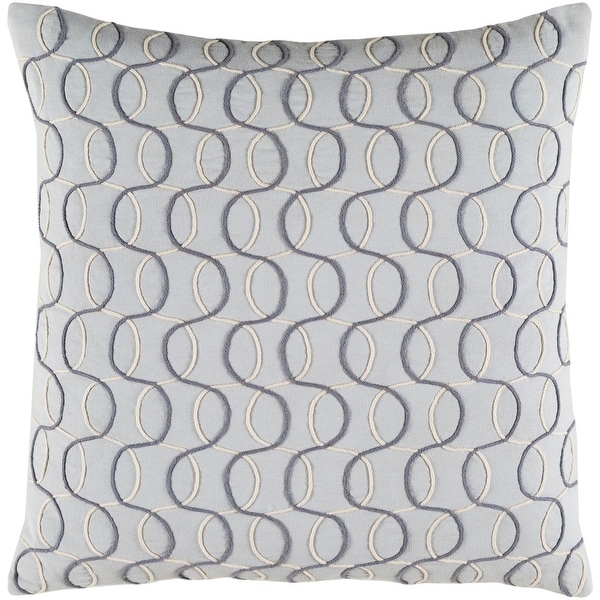 "22"" Silver, Smokey Gray and Eggshell White Woven Decorative Throw Pillow-Down Filler"