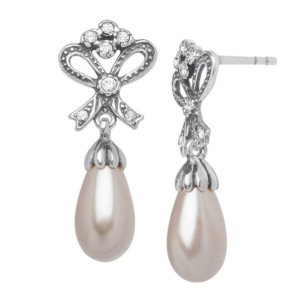 Van Kempen Art Nouveau Simulated Pearl Drop Earrings in Sterling Silver