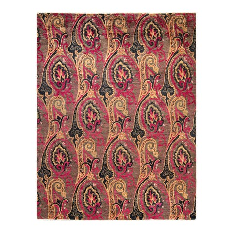 """Suzani, One-of-a-Kind Hand-Knotted Area Rug - Brown, 8' 0"""" x 10' 4"""" - 8' 0"""" x 10' 4"""""""