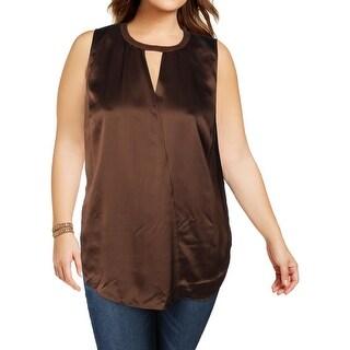 Lauren Ralph Lauren Womens Plus Blouse Silk Suede Trim