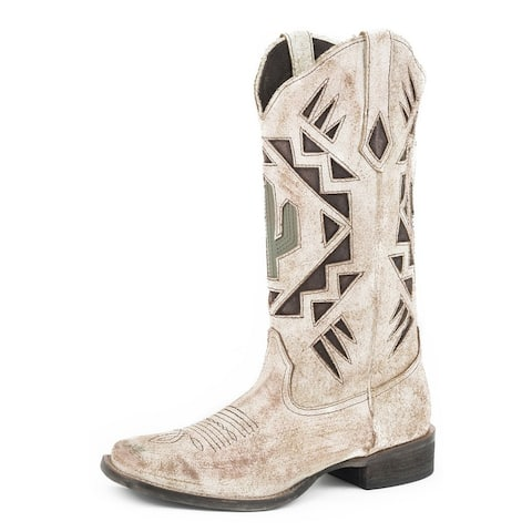 Roper Western Boots Womens Wide Square Toe Tan