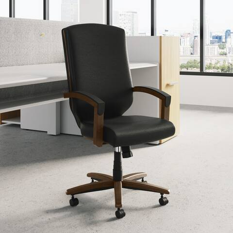 Eloquence High-Back Ergonomic Executive Chair with Wooden Armrests