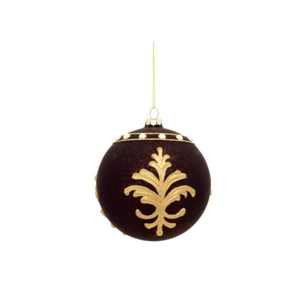"""4.5"""" Matte Black and Gold Victorian Floral Repeat Glass Ball Christmas Ornament"""