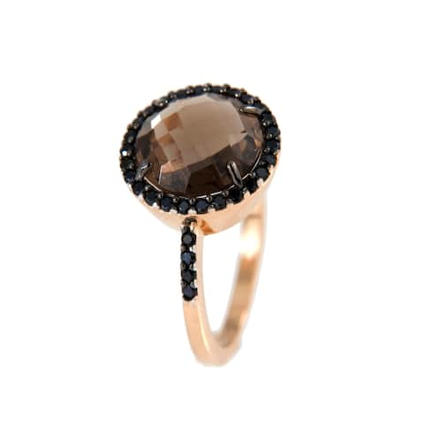 Forever Last 18 kt Gold Plated Women's Rose Plated Faceted Smoky Quartz Ring