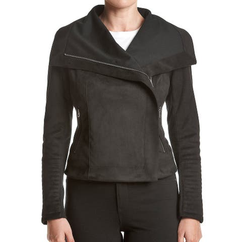 Lucky Brand Women Jacket Black Size XS Faux-Suede Asymetrical Motorcycle