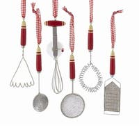 """Club Pack of 12 Red and White Kitchen Cooking Tool Ornaments 5.51"""""""